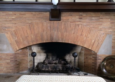 Fireplace and bench